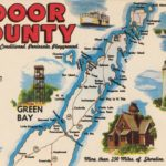 A colorful postcard showing a map of Door County and promoting tourist activities in the region