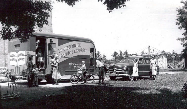 The Door-Kewaunee Regional Library was designed to reach rural communities without easy access to libraries. Image courtesy of the Egg Harbor Historical Society.