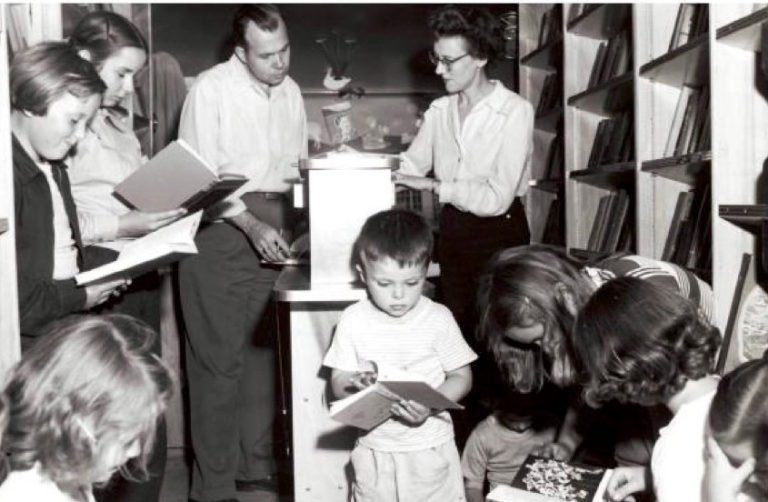 Inside the bookmobile were shelves filled with books, magazines, records, and especially childrens' books. Image courtesy of the Egg Harbor Historical Society.