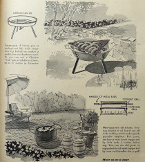 """Portable barbecues you can make."" Image from Better Homes and Gardens, May 1952, p. 317."