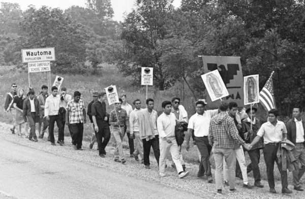 Jesus Salas and members of Obreros Unidos marching from Wautoma to Madison in 1966. Image courtesy of the Wisconsin Historical Society, Image ID: 93386.