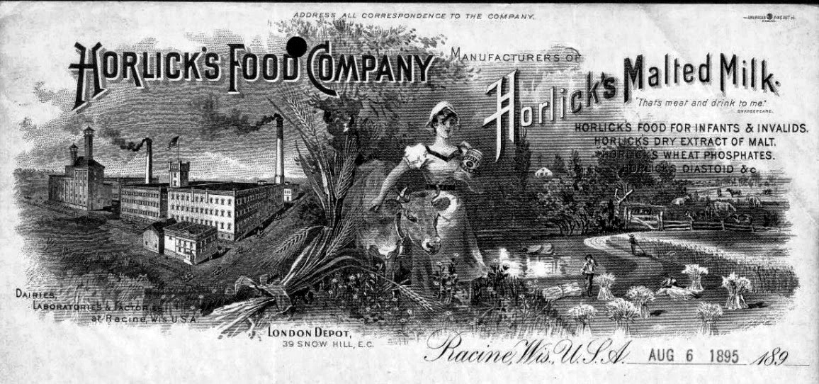 Official letterhead of what was then known as the Horlick's Food Company, 1895.