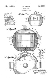 Serving Bowl, Ralph N. Kircher for the West Bend Aluminum Company, patent US2349099A. Image from www.google.com/patents.
