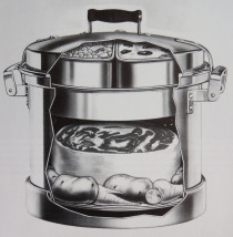 Cut-away view of the Waterless Cooker, circa 1922. Image from Washington County's Aluminum Industry, p. 15.