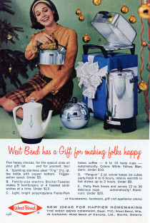 """""""West Bend has a Gift for making folks happy."""" Image from Reader's Digest: Showcase of Christmas Gifts, 1964, p. 24B."""