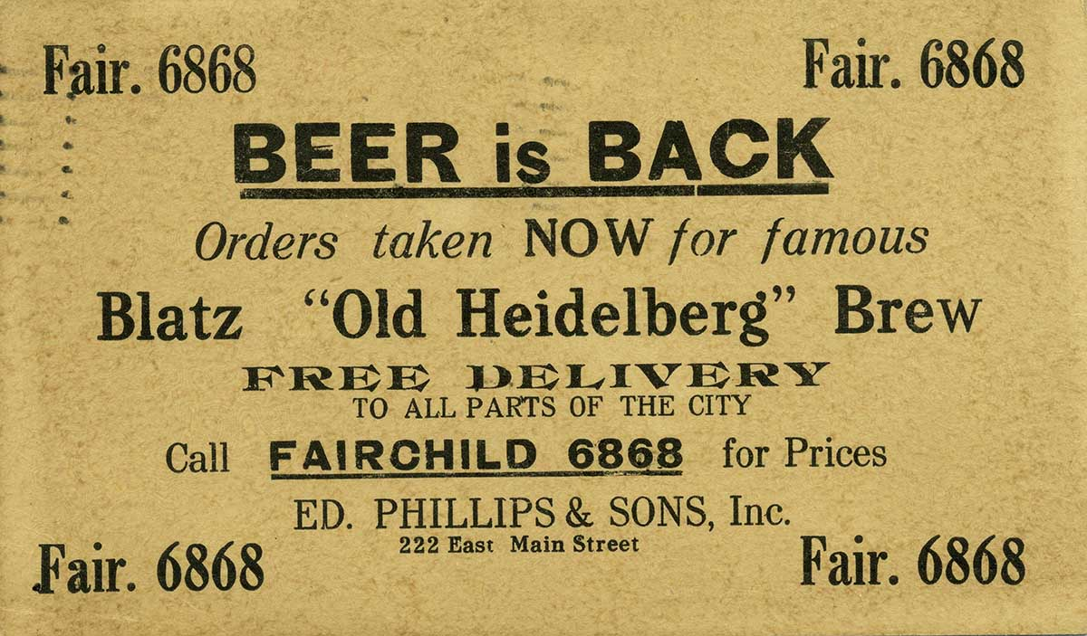 Milwaukee Journal article regarding Prohibition (Image courtesy of the Wisconsin Historical Society).