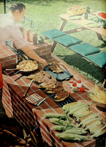 """Fireplace feasts for your own back yard."" Image from Better Homes and Gardens, June 1952, p. 78."