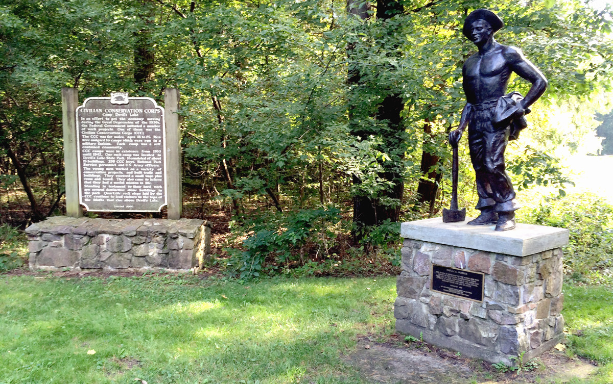 CCC commemorative statue and historical marker at Devil's Lake State Park, WI. Photograph by Adam Mandelman, September 2015.