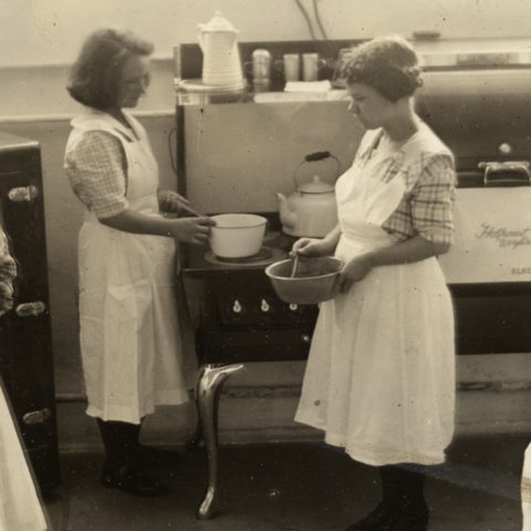 Two women in a cooking class