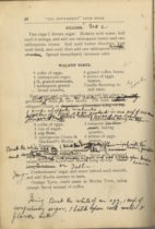 a page from the settlement house cookbook where Lizzie Kander has written notes to herself on a recipe