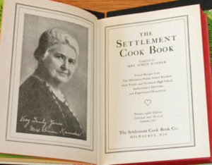 The title page of the cookbook showing a portrait of Lizzie Kander