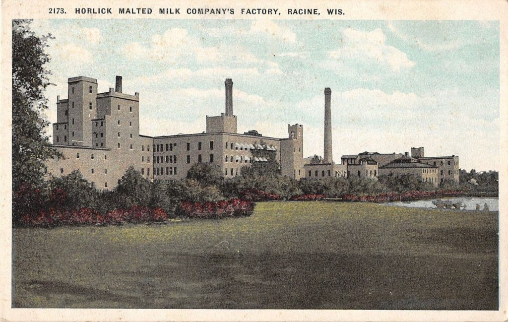 The Horlick's Malted Milk Company plant, just outside Racine Wisconsin, c. 1900. Note the pond at far right—an important source of water for the factory.