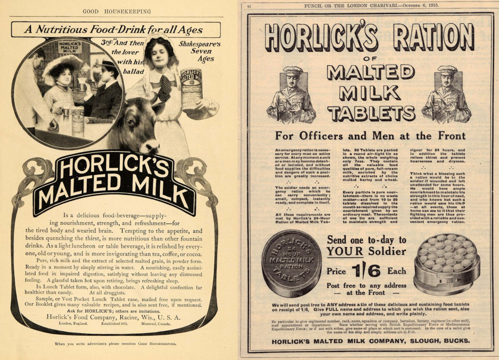 A pair of Horlick's advertisements from the United States (left, 1904) and the United Kingdom (right, 1915). Note the two different products being advertised: malted milk powder and malted milk tablets.