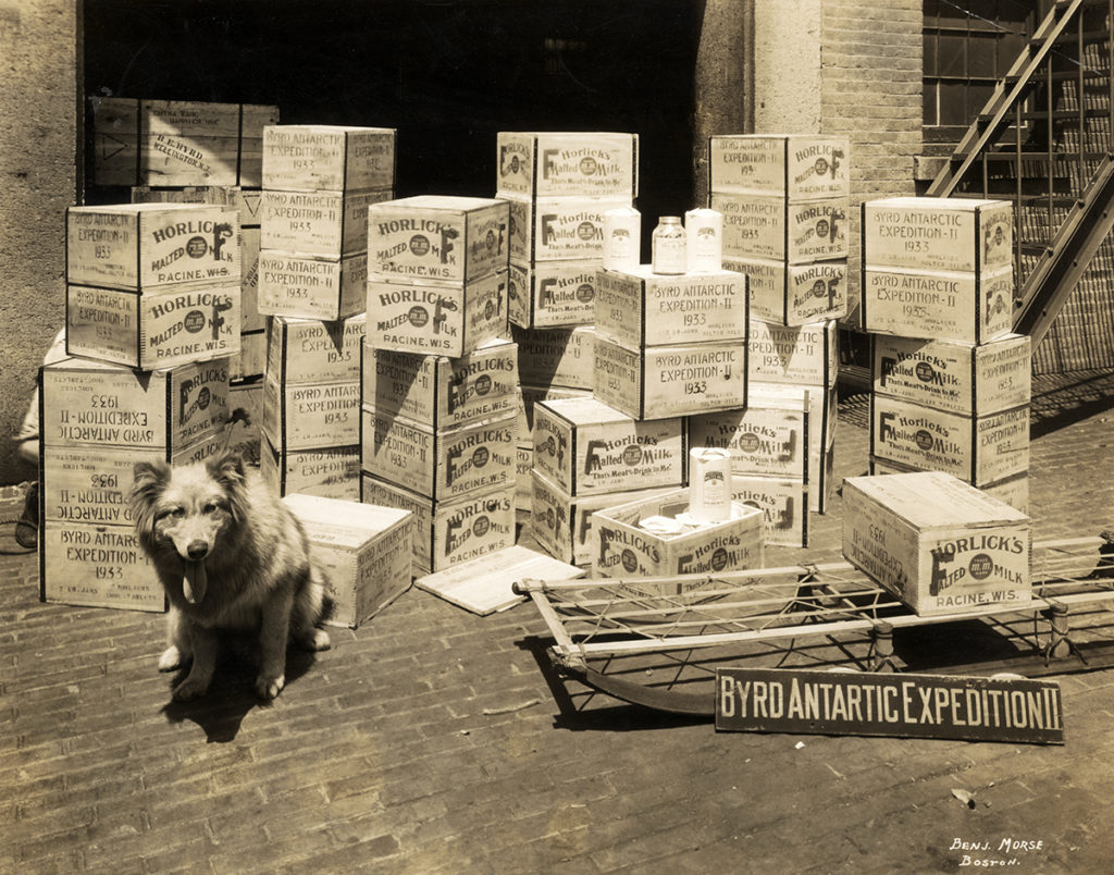 Crates of Horlick's Malted Milk bound for Antarctica to supply Richard E. Boyd's second expedition there. Photograph by Benjamin Morse, 1933. Courtesy of the Wisconsin Historical Society, Image ID: 23703.