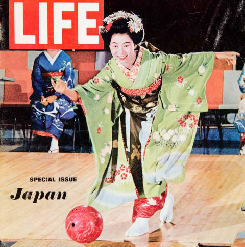 Life Magazine Cover of person bowling