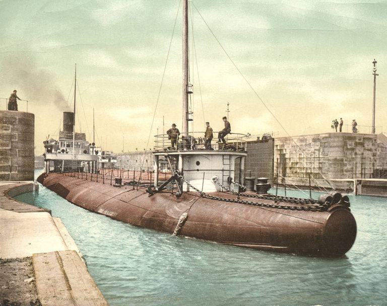 A whaleback ship, the SS Joseph L. Colby, at the Soo Locks between Lake Huron and Lake Superior. Image from wikimedia commons.