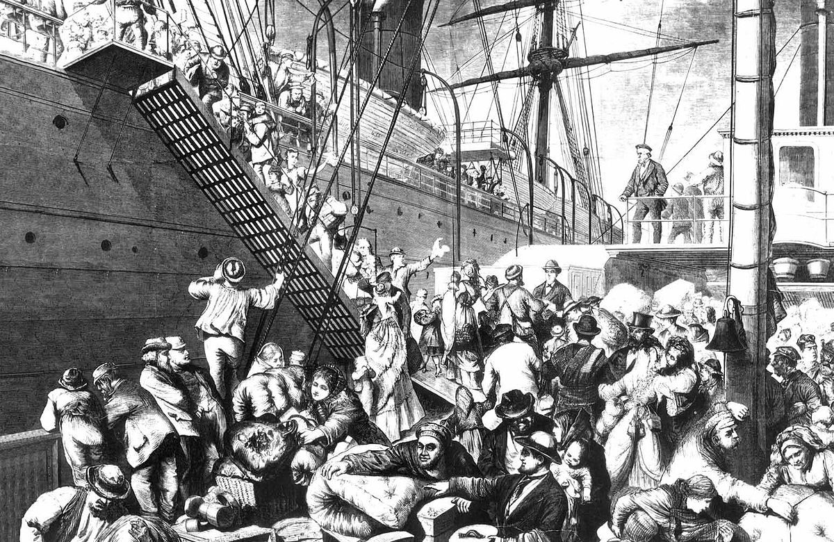 European immigrants boarding a steamer to the United States. Harper's Weekly, November 7, 1874.