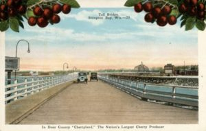 A c. 1920 postcard with cherry illustrations and the Cherryland nickname. Photograph courtesy of the Wisconsin Historical Society. Image ID: 38328.