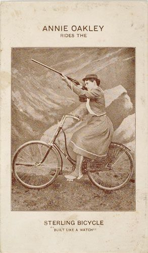 Sterling Bicycle advertisement featuring Annie Oakley on the safety bicycle, 1890s.