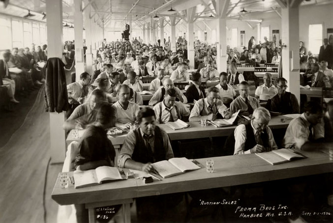 Buyers fathered for the second annual Fromm fur auction in Hamburg, Wisconsin, September 1936. Photograph courtesy of the Marathon County Historical Society.