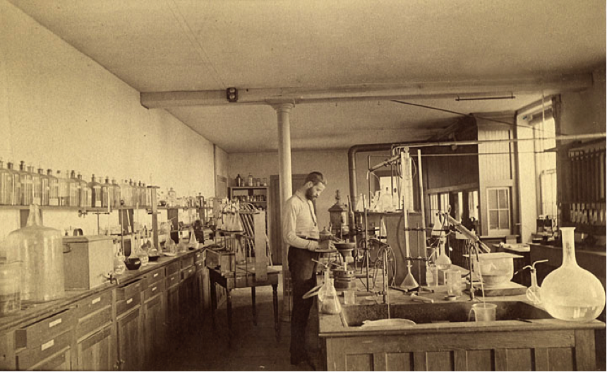 F.G. Short working in the chemistry laboratory of the University of Wisconsin Agricultural Experiment Station, 1885. Courtesy of the University of Wisconsin Archives.