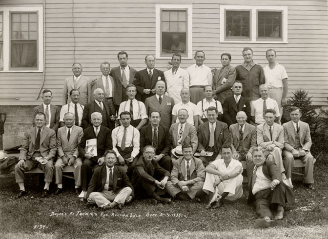 A group picture of the fur buyers that made the trip to Central Wisconsin for the first Fromm fur action in 1935. Photograph courtesy of the Marathon County Historical Society.