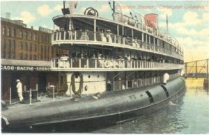 The SS Christopher Columbus was outfitted as an excursion liner to carry people to Chicago's World's Fair. Image from wikimedia commons.