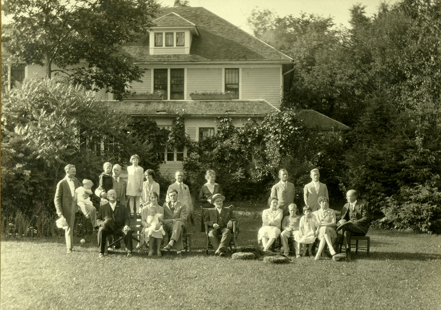 The Fromms posing in front of the family home, late 1930s. Photograph courtesy of the Marathon County Historical Society.