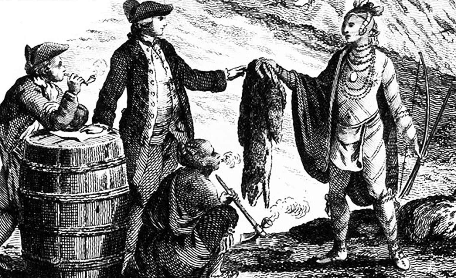 French traders exchanging European goods for furs trapped by Native Americans. Decorative detail from a 1777 map of Canada by William Faden. Courtesy of the Library of Congress, Geography and Map Division.