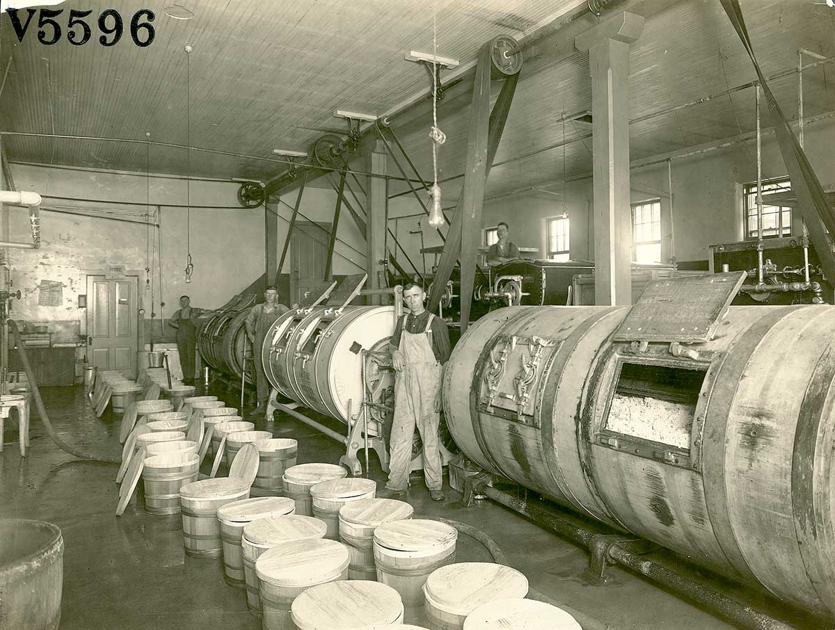 Workers pose next to churns full of butter at the Barron Coop Creamery, Barron, Wisconsin, c. 1900. Image courtesy of Wisconsin Historical Society. (Image ID 3238)