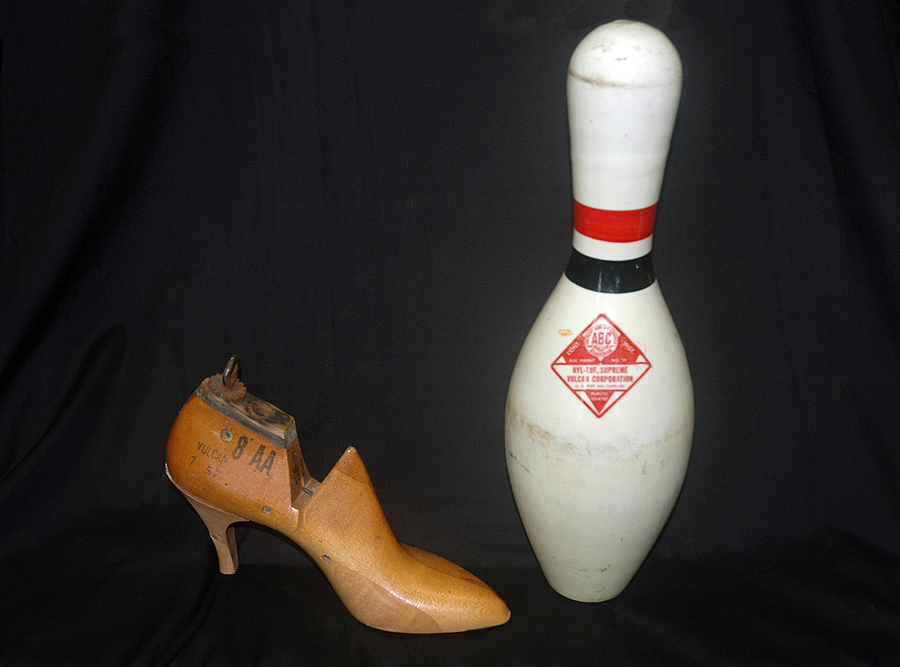 Wooden shoe last (unknown date) and bowling pin (late 1950s) manufactured by Vulcan. Photograph by Joe Hermolin.