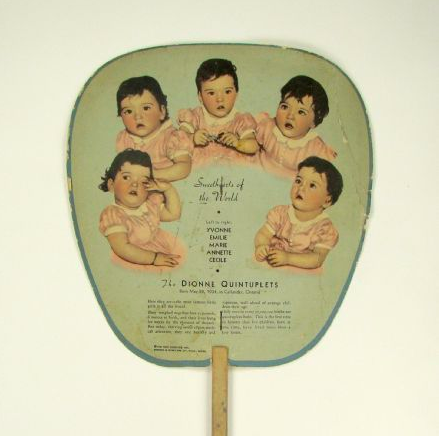 A fan showing the Dionne quintuplets from Milwaukee