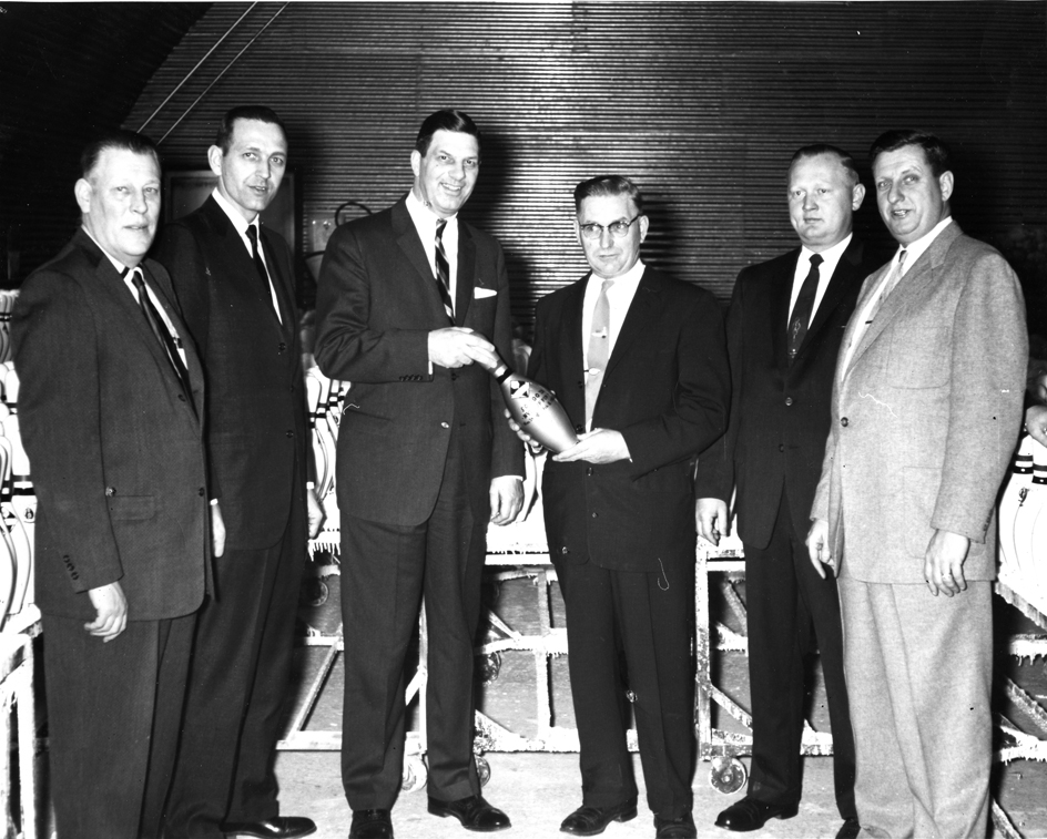 Ten weeks after gaining approval from the American Bowling Congress for their Nyl-Tuf coating procedure, Vulcan held a ceremony commemorating the production of its 50,000th pin, 1959. Photograph courtesy of the Langlade County Historical Society.