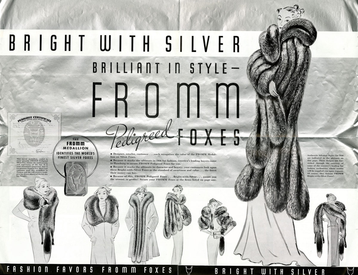 """An advertisement for Fromm furs using their """"bright with silver"""" slogan and printed on metallic silver paper, Women's Wear Daily, March 11, 1936."""