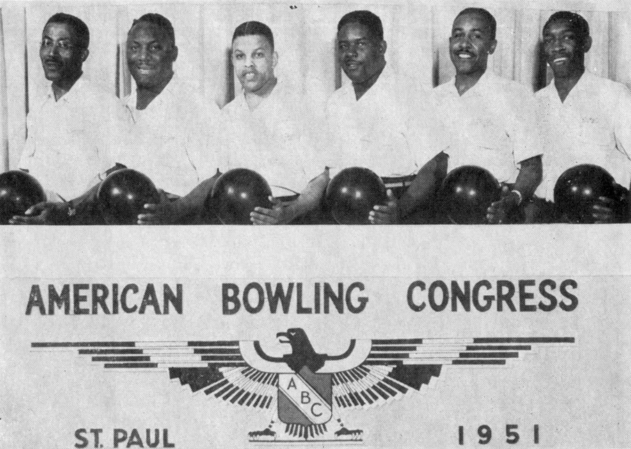 In 1951, Allen Supermarket of Detroit sponsored the first black bowling team to play in an American Bowling Congress tournament. L to R: George Williams, Maurice Kilgore, Lafayette Allen Jr., Lavert Griffin, Bill Rhodman, Clarence Williams Jr. Photographer unknown.