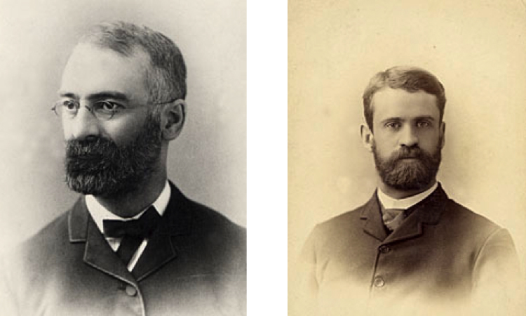 The men behind the butterfat test. Left: Portrait of Stephen Moulton Babcock, 1890-1899. Courtesy of the University of Wisconsin Archives. Right: Portrait of F.G. Short, 1890-1899. Courtesy of the University of Wisconsin Archives.