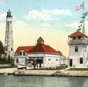 Thumbnail of a coast guard lifesaving station showing a lighthouse and observation tower