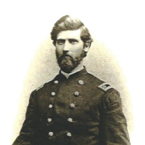 A black and white portrait of Dr. James T. Reeve in the uniform of a Civil War surgeon.