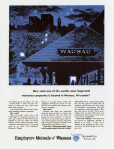 An advertisment for the Wausau-based Employer's Mutual Insurance showing the roof of the Wausau railroad station at night