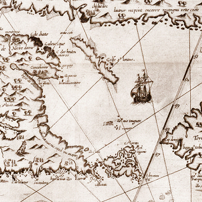 detail of A hand-drawn map showing the Great Lakes used by french explorers