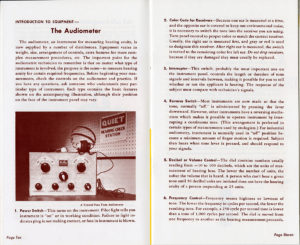 Image from a page in a manual instructing technicians on how to use the audiometer.