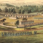 detail of painting showing civil war troop practicing at Camp Randall