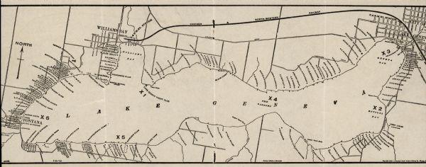 Map of Lake Geneva, WI, featuring Williams Bay.