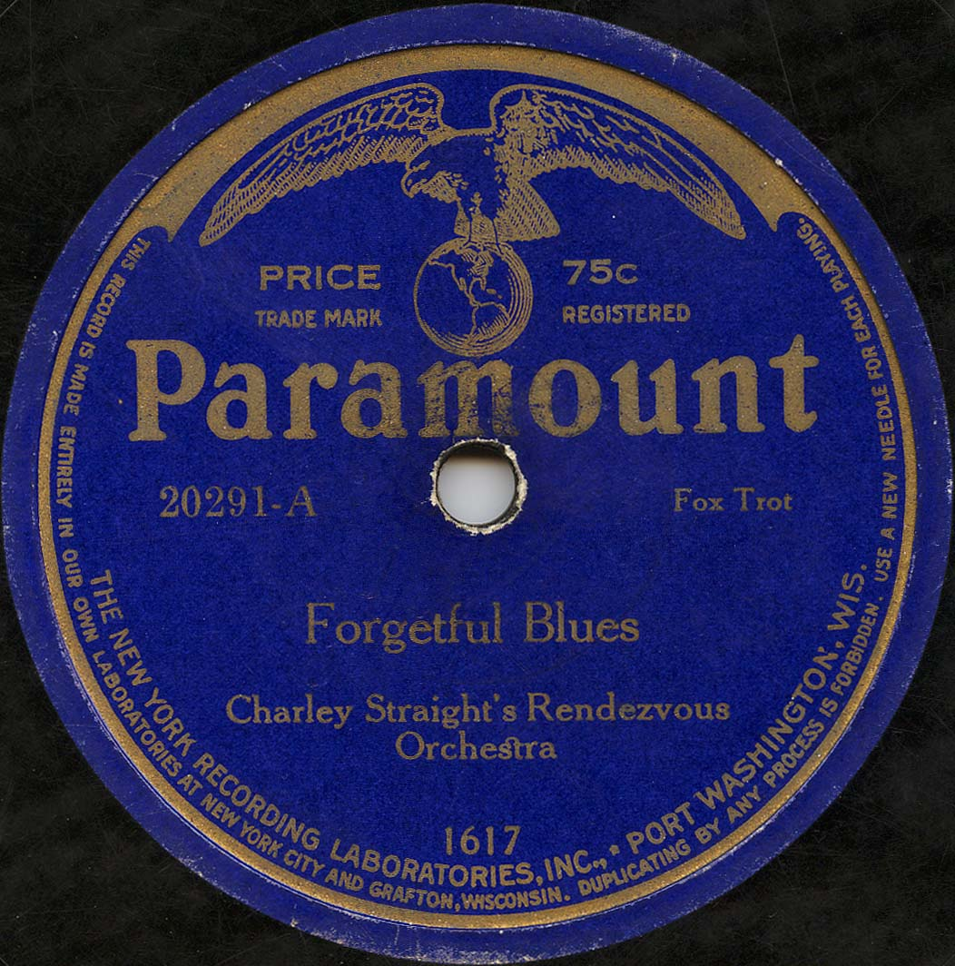 """Image of a blue covered paramount record of the song """"forgetful blues"""""""