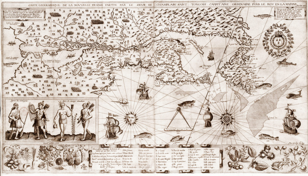 A hand-drawn map showing the Great Lakes used by french explorers