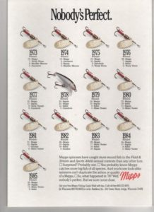 An advertisement from a magazine for Mepps lures showing how they had changed over the decades