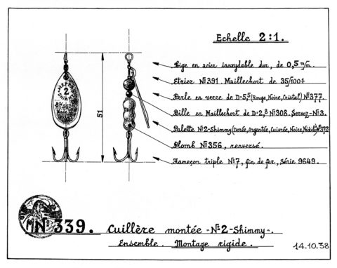 A technical drawing of the Mepps fishing lure identifying its component parts