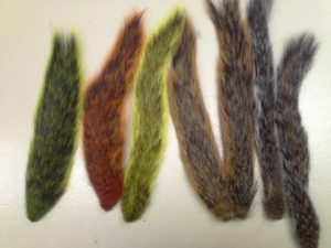 a color photo showing seven squirrel tails, several of them dyed different colors like red, yellow or green