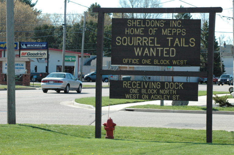 "A photograph of a roadside sign that announces ""squirrel tails wanted"""