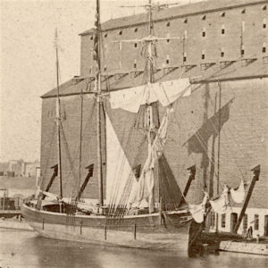 Thumbnail image showing the tanner docked at a grain elevator